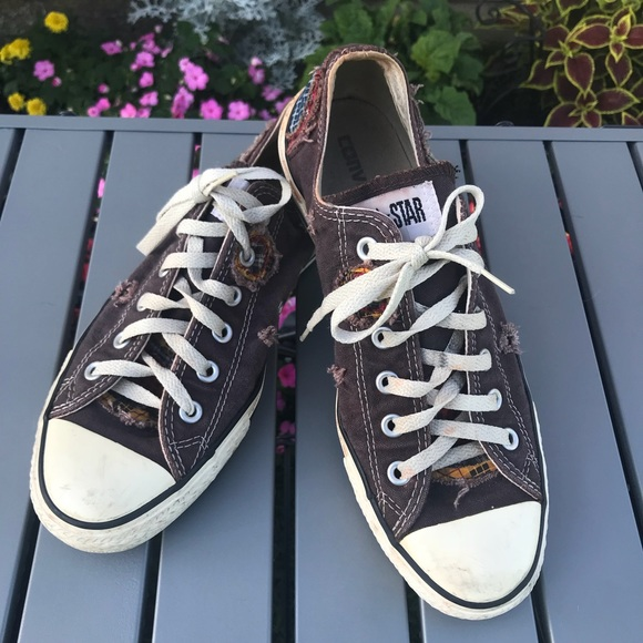 Converse distressed patch sneakers